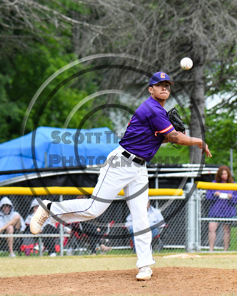 Cortland Crush Pitcher Justin Pacheco (4) throws the ball to 1st Base against the Onondaga Flames on Greg's Field at Beaudry Park in Cortland, New York on Sunday, June 3, 2018. Cortland won 7-5.
