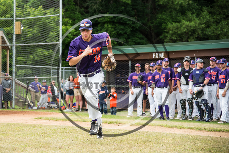 Cortland Crush Dylan Ketch (14) being introduced before playing the Onondaga Flames on Greg's Field at Beaudry Park in Cortland, New York on Sunday, June 3, 2018.