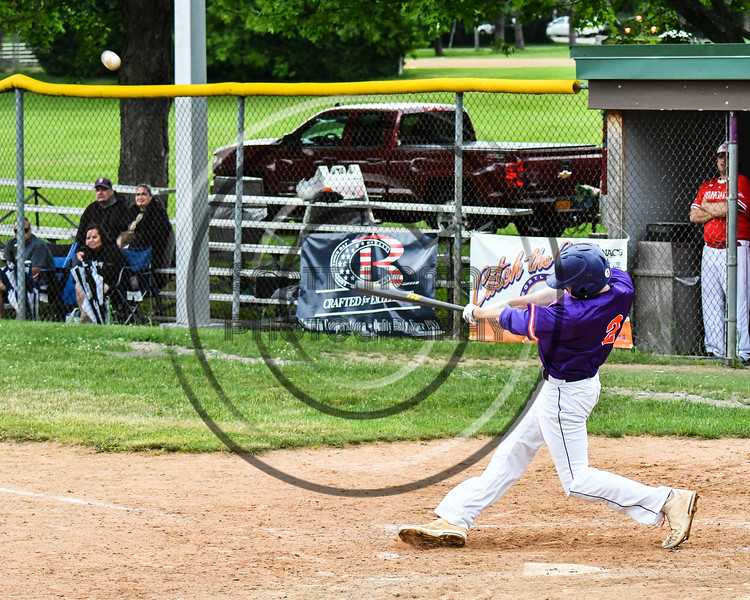 Cortland Crush Alex Flock (2) hits the ball against the Onondaga Flames on Greg's Field at Beaudry Park in Cortland, New York on Sunday, June 3, 2018. Cortland won 7-5.