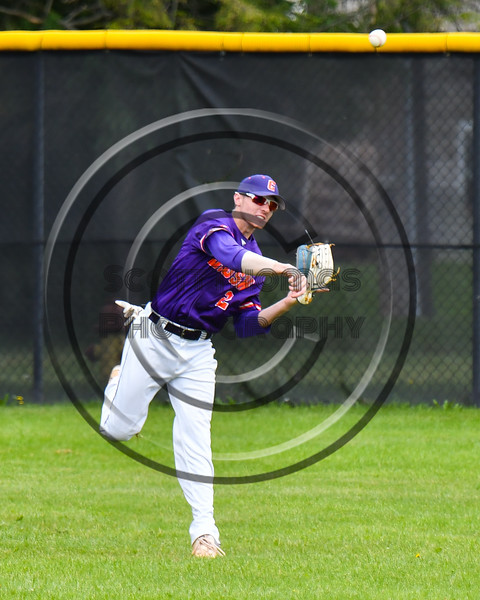 Cortland Crush Alex Flock (2) throwing the ball from the outfield against the Onondaga Flames on Greg's Field at Beaudry Park in Cortland, New York on Sunday, June 3, 2018.