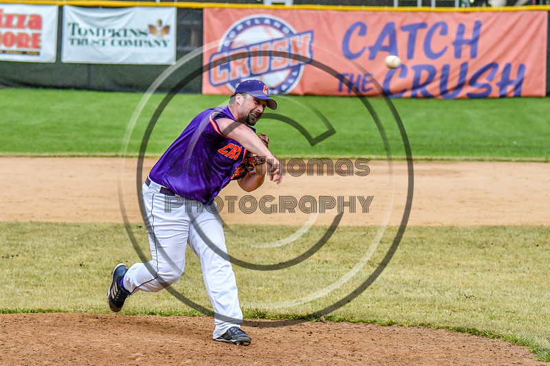 Cortland Crush Brenden Clanton (34) pitching against the Onondaga Flames on Greg's Field at Beaudry Park in Cortland, New York on Sunday, June 3, 2018. Cortland won 7-5.