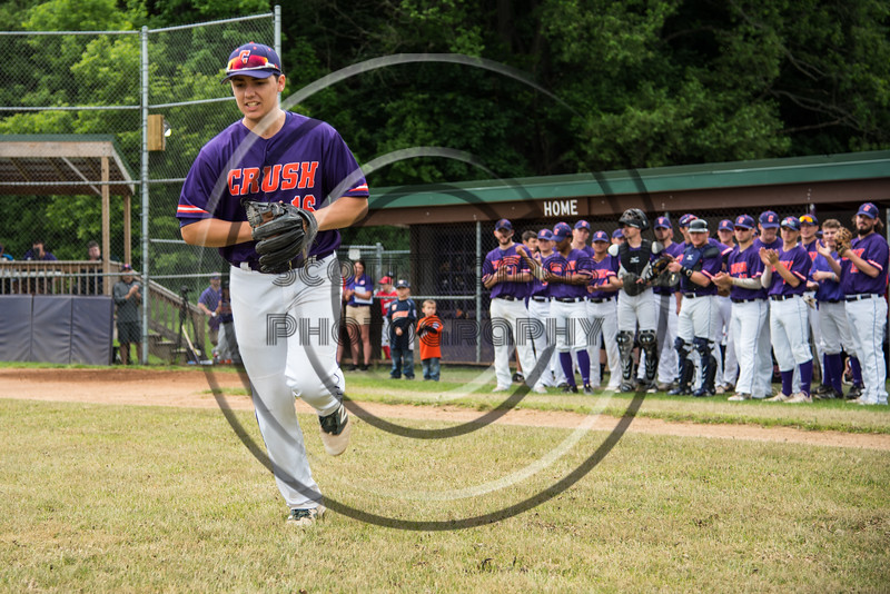 Cortland Crush Alex Babcock (16) being introduced before playing the Onondaga Flames on Greg's Field at Beaudry Park in Cortland, New York on Sunday, June 3, 2018.