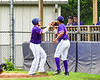 Cortland Crush Hayden Houts (5) celebrates scoring a run with Shane Epps (24) in a game against the Onondaga Flames on Greg's Field at Beaudry Park in Cortland, New York on Sunday, June 3, 2018. Cortland won 7-5.