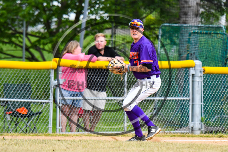 Cortland Crush Tyler McKeon (7) fields the ball against the Onondaga Flames on Greg's Field at Beaudry Park in Cortland, New York on Sunday, June 3, 2018. Cortland won 7-5.