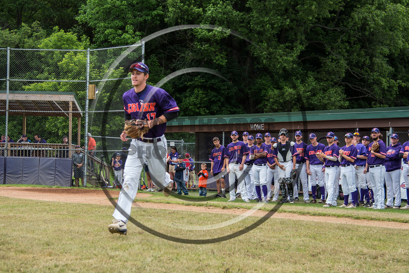 Cortland Crush Jimmy Tatum (17) being introduced before playing the Onondaga Flames on Greg's Field at Beaudry Park in Cortland, New York on Sunday, June 3, 2018.