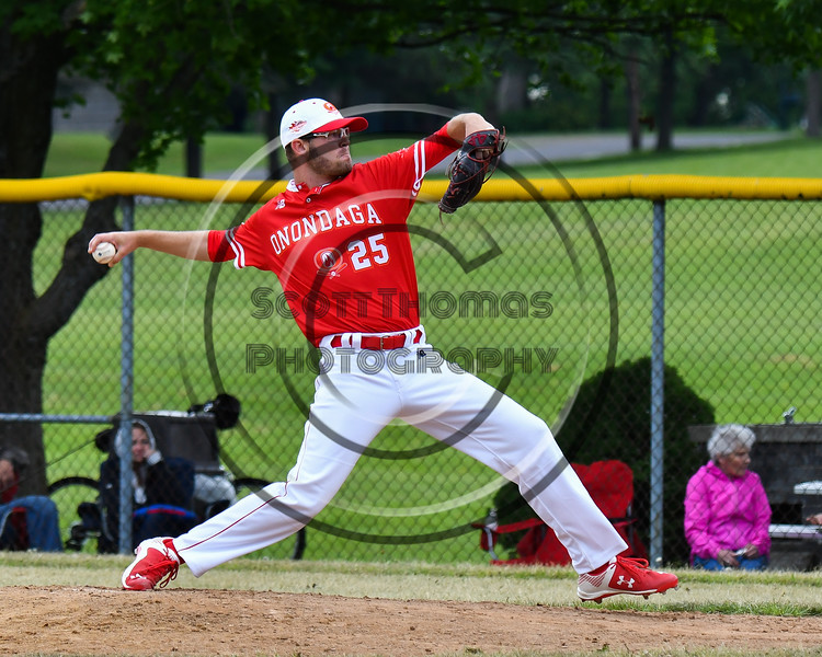 Onondaga Flames Riley Glenn (25) pitching against the Cortland Crush on Greg's Field at Beaudry Park in Cortland, New York on Sunday, June 3, 2018. Cortland won 7-5.
