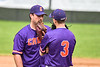 Cortland Crush Anthony Cieszko (3) talks with pitcher Brenden Clanton (34) during a timeout against the Onondaga Flames on Greg's Field at Beaudry Park in Cortland, New York on Sunday, June 3, 2018. Cortland won 7-5.