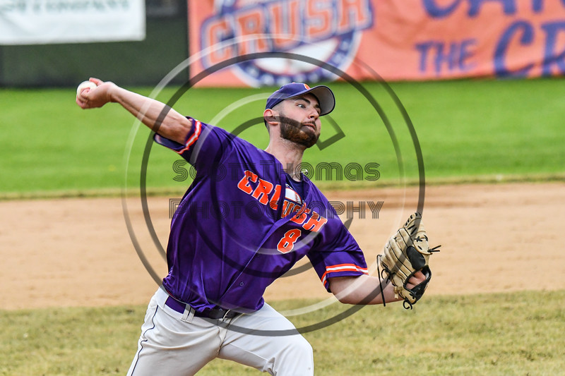 Cortland Crush Michael Perreault (8) pitching against the Onondaga Flames on Greg's Field at Beaudry Park in Cortland, New York on Sunday, June 3, 2018. Cortland won 7-5.