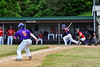 Cortland Crush Jimmy Tatum (17) gets a hit as Hayden Houts (5) gets ready to run for Home against the Onondaga Flames on Greg's Field at Beaudry Park in Cortland, New York on Sunday, June 3, 2018. Cortland won 7-5.
