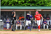 Cortland Crush Catcher Hayden Houts (5) throws the ball around the horn after Onondaga Flames Jarrad Grossguth (24) gets called out on strikes on Greg's Field at Beaudry Park in Cortland, New York on Sunday, June 3, 2018. Cortland won 7-5.