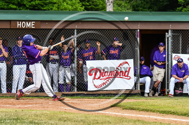 Cortland Crush Zach Kelley (33) hits the ball against the Onondaga Flames on Greg's Field at Beaudry Park in Cortland, New York on Sunday, June 3, 2018. Cortland won 7-5.