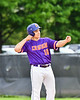 Cortland Crush Alex Babcock (16) celebrates his hist against the Onondaga Flames on Greg's Field at Beaudry Park in Cortland, New York on Sunday, June 3, 2018. Cortland won 7-5.
