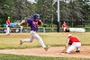 Cortland Crush Alex Babcock (16) tries to beat the throw to 2st Base against the Onondaga Flames on Greg's Field at Beaudry Park in Cortland, New York on Sunday, June 3, 2018. Cortland won 7-5.