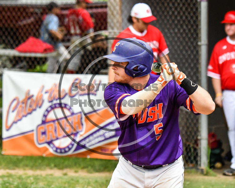Cortland Crush Hayden Houts (5) at bat against the Onondaga Flames on Greg's Field at Beaudry Park in Cortland, New York on Sunday, June 3, 2018. Cortland won 7-5.