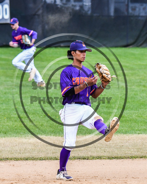 Cortland Crush Iset Maldonado (1) comes down with a line drive for an out against the Onondaga Flames on Greg's Field at Beaudry Park in Cortland, New York on Sunday, June 3, 2018. Cortland won 7-5.