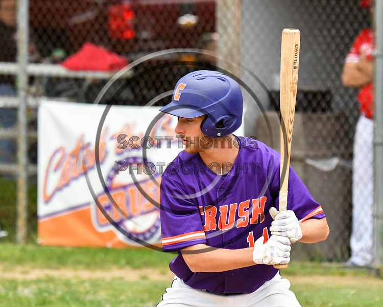 Cortland Crush Dylan Ketch (14) at bat against the Onondaga Flames on Greg's Field at Beaudry Park in Cortland, New York on Sunday, June 3, 2018. Cortland won 7-5.