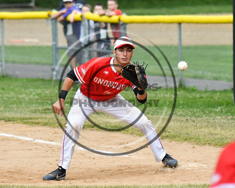 Onondaga Flames Mike Steffan (7) playing 1st Base against the Cortland Crush on Greg's Field at Beaudry Park in Cortland, New York on Sunday, June 3, 2018. Cortland won 7-5.