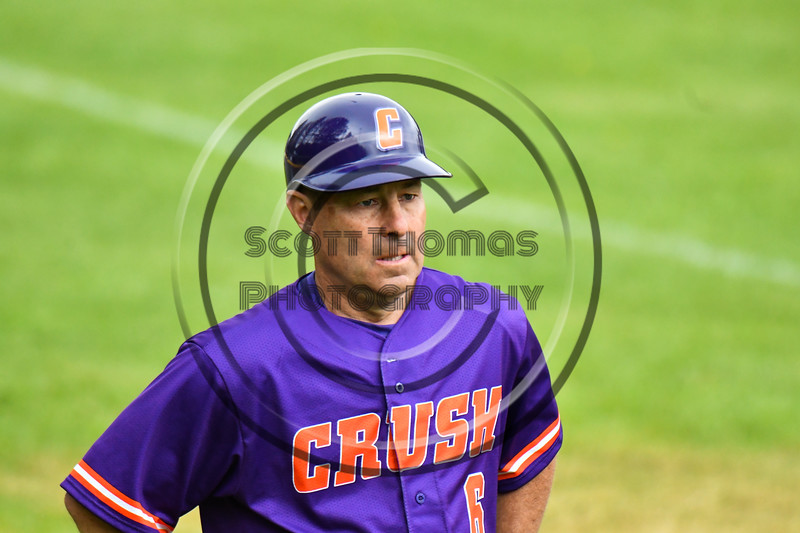Cortland Crush Head Coach Bill McConnell (6) on Greg's Field at Beaudry Park in Cortland, New York on Sunday, June 3, 2018. Cortland won 7-5.