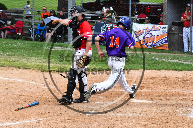 Cortland Crush Dylan Ketch (14) scores a run against the Onondaga Flames on Greg's Field at Beaudry Park in Cortland, New York on Sunday, June 3, 2018. Cortland won 7-5.
