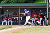 Cortland Crush Alex Babcock (16) gets a hit against the Onondaga Flames on Greg's Field at Beaudry Park in Cortland, New York on Sunday, June 3, 2018. Cortland won 7-5.
