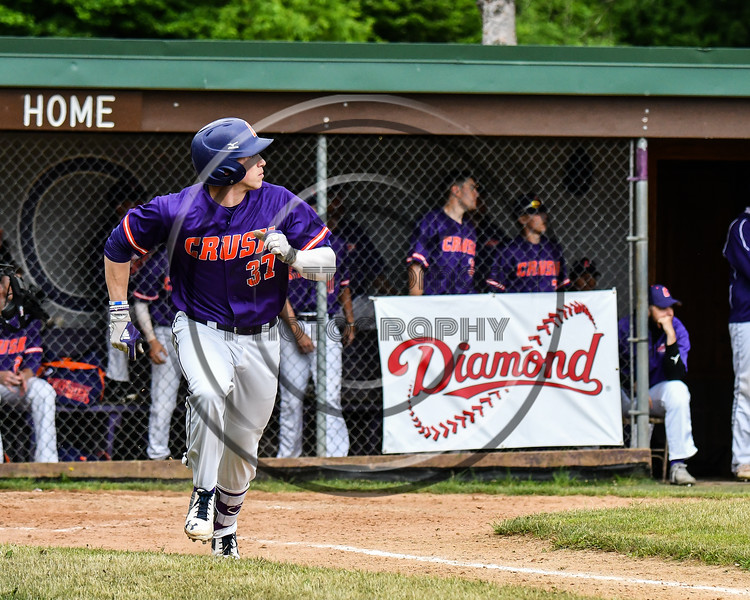 Cortland Crush John Volpe (37) watches the ball he hit against the Onondaga Flames on Greg's Field at Beaudry Park in Cortland, New York on Sunday, June 3, 2018. Cortland won 7-5.