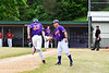 Cortland Crush Head Coach Bill McConnell (6) congratulates Zach Kelley (33) for his Home Run against the Onondaga Flames on Greg's Field at Beaudry Park in Cortland, New York on Sunday, June 3, 2018. Cortland won 7-5.