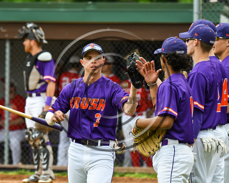 Cortland Crush Anthony Cieszko (3) after warm ups before playing the Onondaga Flames on Greg's Field at Beaudry Park in Cortland, New York on Sunday, June 3, 2018.