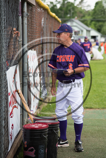 Cortland Crush Head Coach Bill McConnell before the game against the Onondaga Flames on Greg's Field at Beaudry Park in Cortland, New York on Sunday, June 3, 2018.