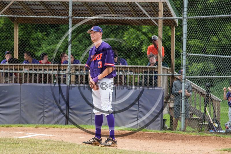 Cortland Crush Jonathan Triesler (19) being introduced before playing the Onondaga Flames on Greg's Field at Beaudry Park in Cortland, New York on Sunday, June 3, 2018.
