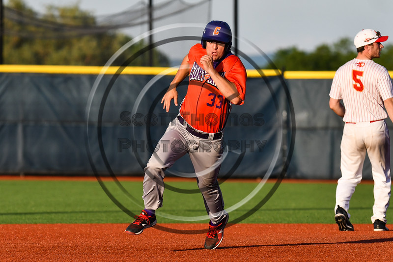 Cortland Crush Zach Kelley (33) running the bases against the Onondaga Flames at OCC Turf Field in Syracuse, New York on Friday, June 8, 2018. Cortland won 6-4.