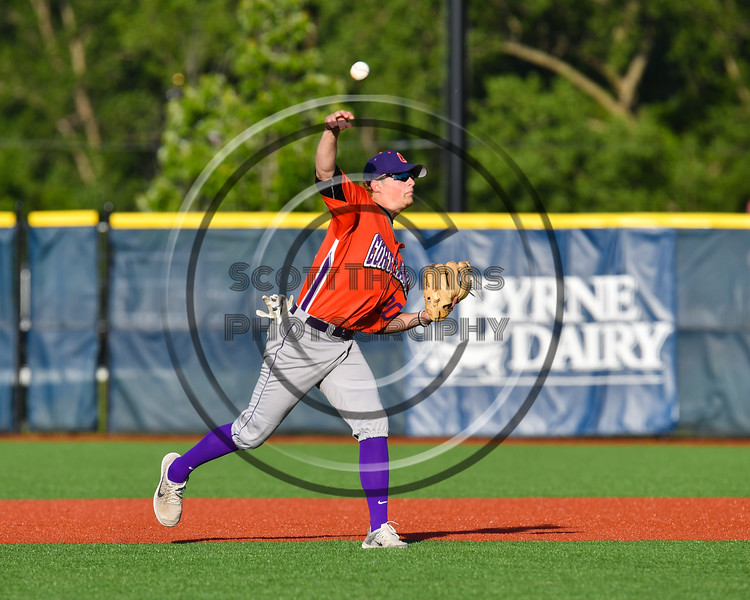 Cortland Crush Charlie Hammell (20) warming up before playing the Onondaga Flames at OCC Turf Field in Syracuse, New York on Friday, June 8, 2018.