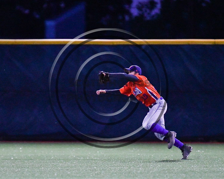Cortland Crush Nelson Laviosa (10) catches a fly ball for an out against the Onondaga Flames at OCC Turf Field in Syracuse, New York on Friday, June 8, 2018. Cortland won 6-4.