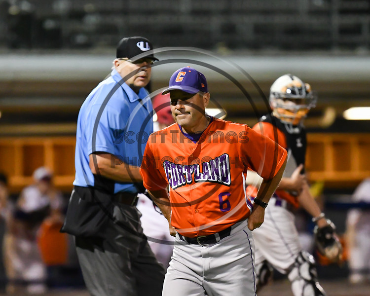 Cortland Crush Head Coach Bill McConnell (6) walks away from the Umpire after complaining about a call during a game against the Onondaga Flames at OCC Turf Field in Syracuse, New York on Friday, June 8, 2018. Cortland won 6-4.