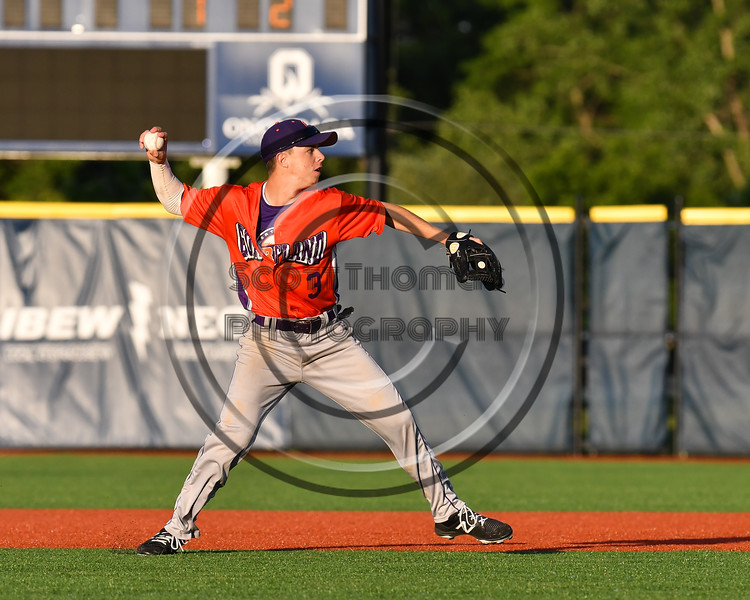 Cortland Crush Anthony Cieszko (3) winds for a throw to 1st Base against the Onondaga Flames at OCC Turf Field in Syracuse, New York on Friday, June 8, 2018. Cortland won 6-4.