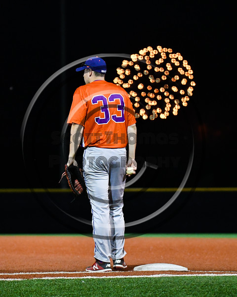 Cortland Crush Zach Kelley (33) with the ball at 1st Base for the start of an inning against the Onondaga Flames at OCC Turf Field in Syracuse, New York on Friday, June 8, 2018. Cortland won 6-4.