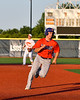 Cortland Crush Alex Babcock (16) running the bases against the Onondaga Flames at OCC Turf Field in Syracuse, New York on Friday, June 8, 2018. Cortland won 6-4.