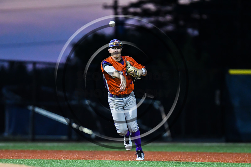 Cortland Crush Tyler McKeon (7) throws the ball to 1st Base for an out against the Onondaga Flames at OCC Turf Field in Syracuse, New York on Friday, June 8, 2018. Cortland won 6-4.