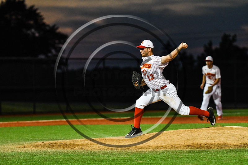Onondaga Flames Jeff DeStefano (13) pitching against the Cortland Crush at OCC Turf Field in Syracuse, New York on Friday, June 8, 2018. Cortland won 6-4.