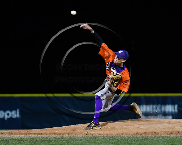 Cortland Crush Jonathan Triesler (19) pitching against the Onondaga Flames at OCC Turf Field in Syracuse, New York on Fridday, June 8, 2018. Cortland won 6-4.