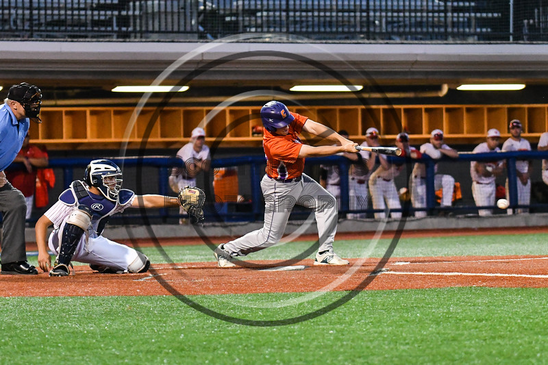 Cortland Crush Alex Babcock (16) gets a hit for a RBI against the Onondaga Flames at OCC Turf Field in Syracuse, New York on Friday, June 8, 2018. Cortland won 6-4.