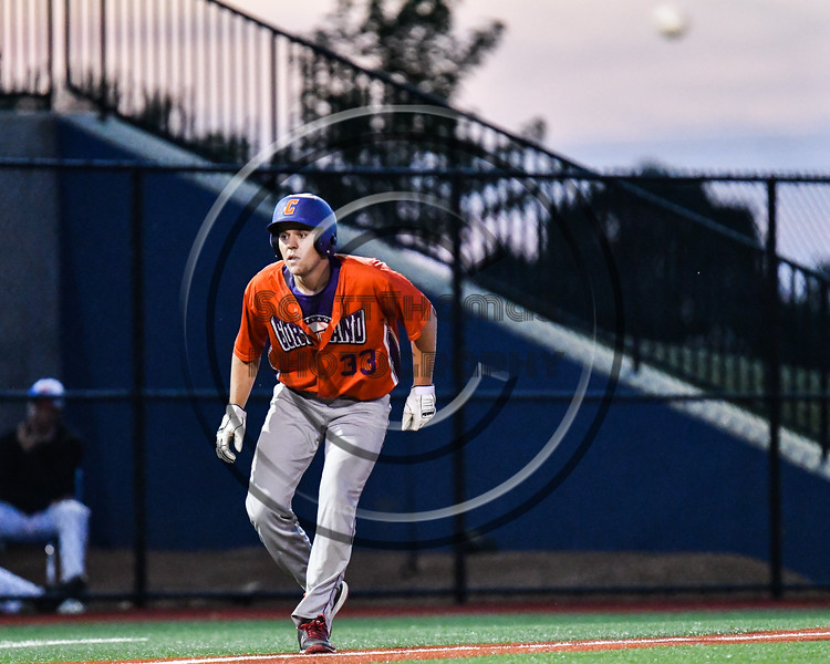 Cortland Crush Zach Kelley (33) holds at 3rd Base against the Onondaga Flames at OCC Turf Field in Syracuse, New York on Friday, June 8, 2018. Cortland won 6-4.