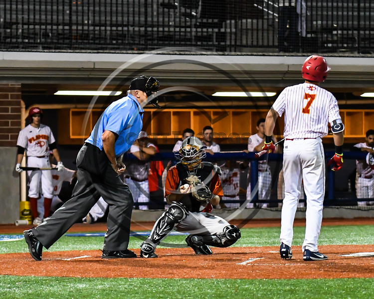 Cortland Crush Garrett Hunter (40) behind the plate against the Onondaga Flames at OCC Turf Field in Syracuse, New York on Friday, June 8, 2018. Cortland won 6-4.
