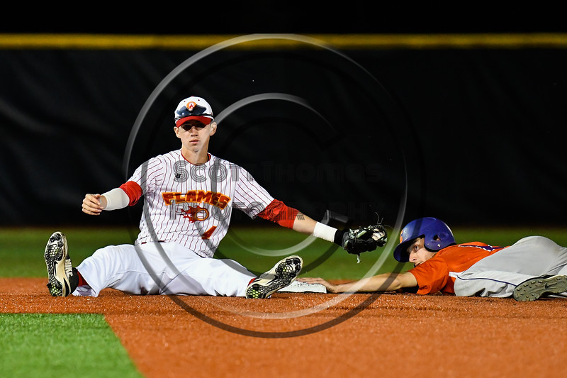 Cortland Crush Alex Flock (2) steals 2nd Base against the Onondaga Flames Jake Evans (4) at OCC Turf Field in Syracuse, New York on Fridday, June 8, 2018. Cortland won 6-4.