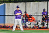 Cortland Crush Assistand Coach Connor Griffin at 1st Base against the Onondaga Flames at OCC Turf Field in Syracuse, New York on Friday, June 8, 2018. Cortland won 6-4.