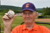 The father of Head Coach Bill McConnell (6) with the Cortland Crush team signed baseball presented to him  at the LaFayette Junior and Senior High School Field in LaFayette, New York on Saturday, June 9, 2018.
