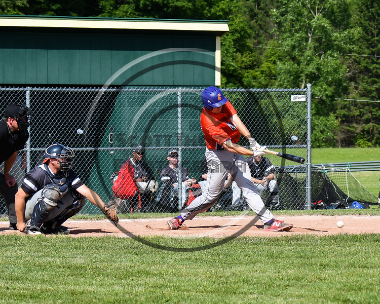 Cortland Crush Zach Kelley (33) hits the ball against the Sherrill Silversmiths at the LaFayette Junior and Senior High School Field in LaFayette, New York on Saturday, June 9, 2018. Cortland won 12-6.