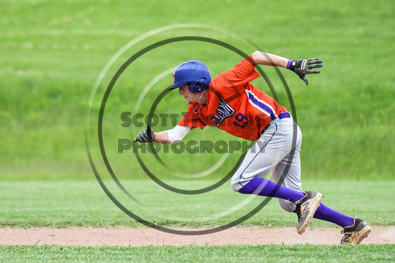 Cortland Crush Jonathan Triesler (19) running to 3rd Base against the Sherrill Silversmiths at the LaFayette Junior and Senior High School Field in LaFayette, New York on Saturday, June 9, 2018. Cortland won 12-6.