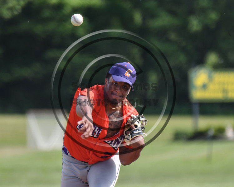 Cortland Crush Shane Epps (24) pitching against the Sherrill Silversmiths at the LaFayette Junior and Senior High School Field in LaFayette, New York on Saturday, June 9, 2018. Cortland won 12-6.