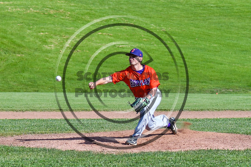 Cortland Crush Maxwell Tannebaum (23) pitching against the Sherrill Silversmiths at the LaFayette Junior and Senior High School Field in LaFayette, New York on Saturday, June 9, 2018. Cortland won 12-6.