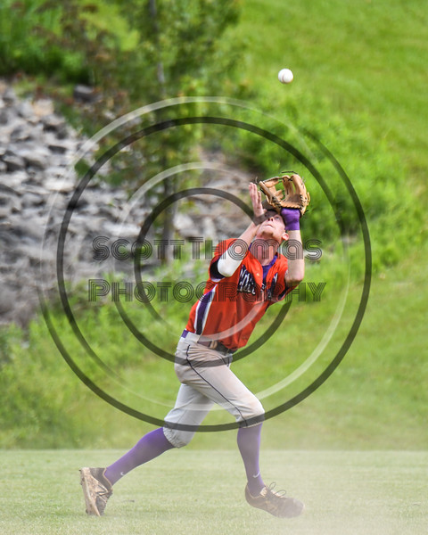 Cortland Crush Jonathan Triesler (19) abaout to catch a fly ball for an out against the Sherrill Silversmiths at the LaFayette Junior and Senior High School Field in LaFayette, New York on Saturday, June 9, 2018. Cortland won 12-6.